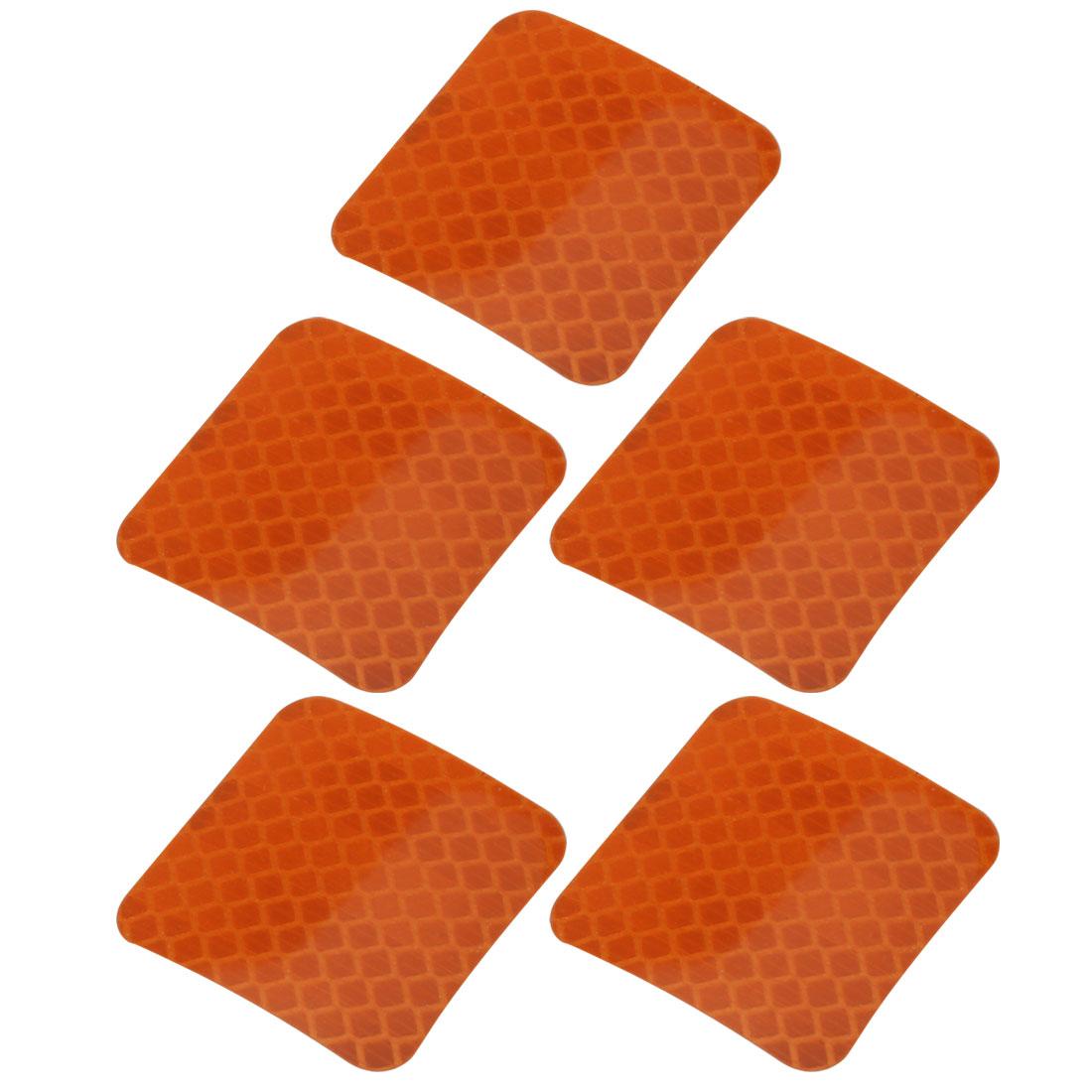 5pcs Honeycomb Reflective Warning Tape Film Sticker Orange 40mm x 40mm