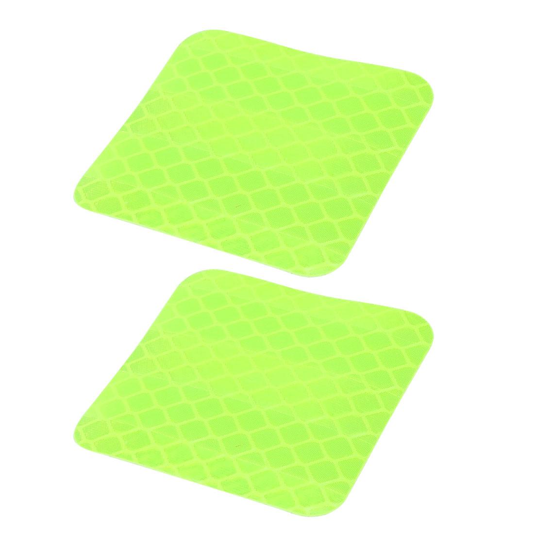 2pcs Honeycomb Reflective Warning Tape Film Sticker Light Yellow 40mm x 40mm