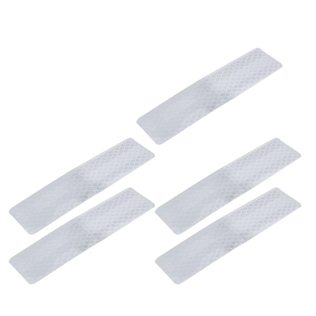 5pcs Honeycomb Reflective Warning Tape Film Sticker White 30mm x 120mm