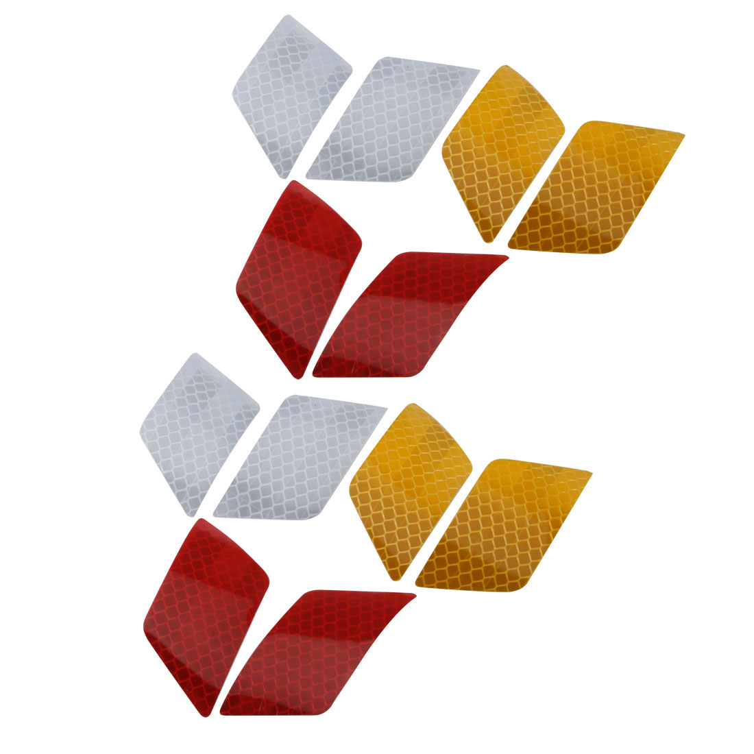 6Pair Reflective Warning Tape Strip Sticker Yellow White Red 30mm x 70mm for Car