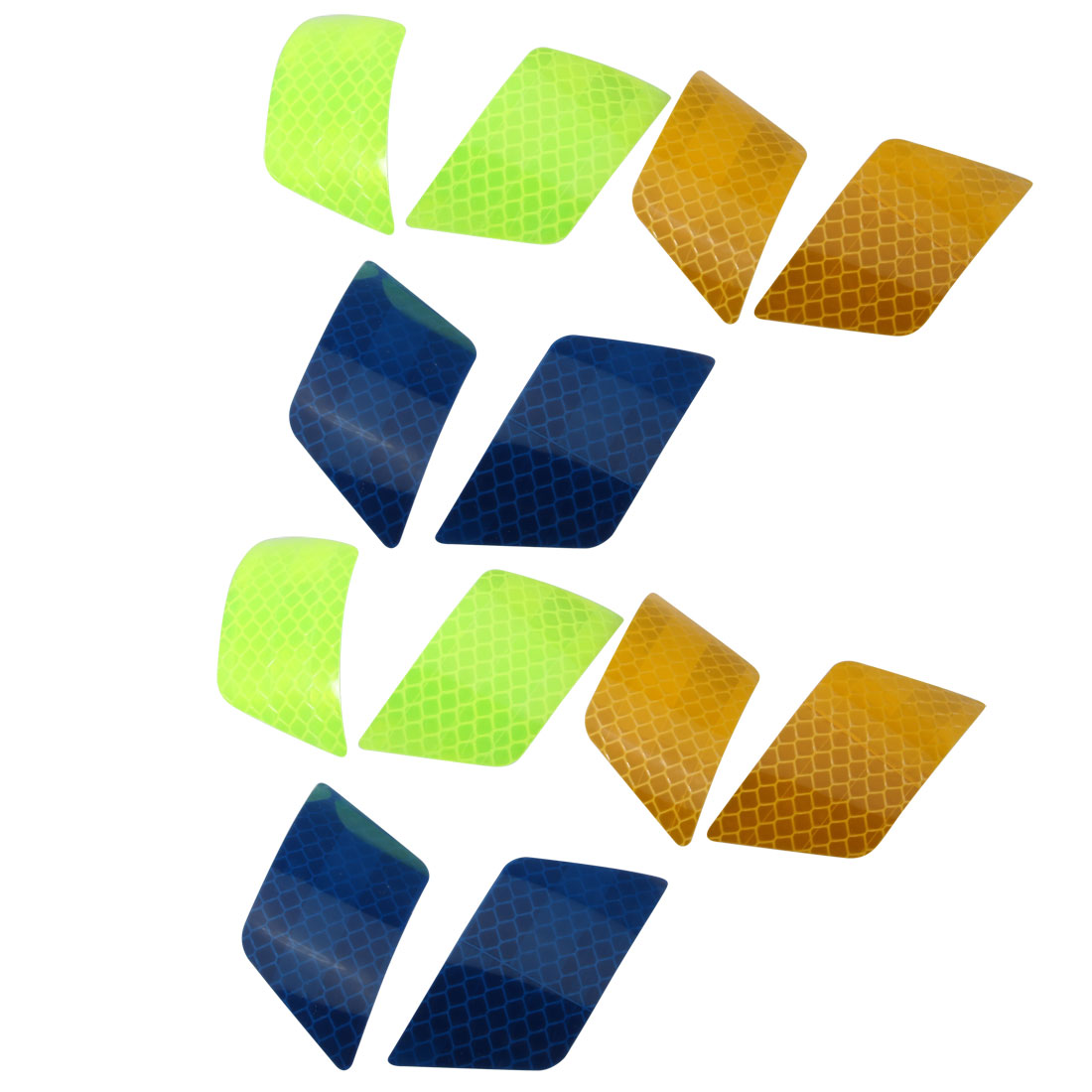6Pair Reflective Warning Tape Strip Sticker Green Blue Orange 30mmx70mm for Car
