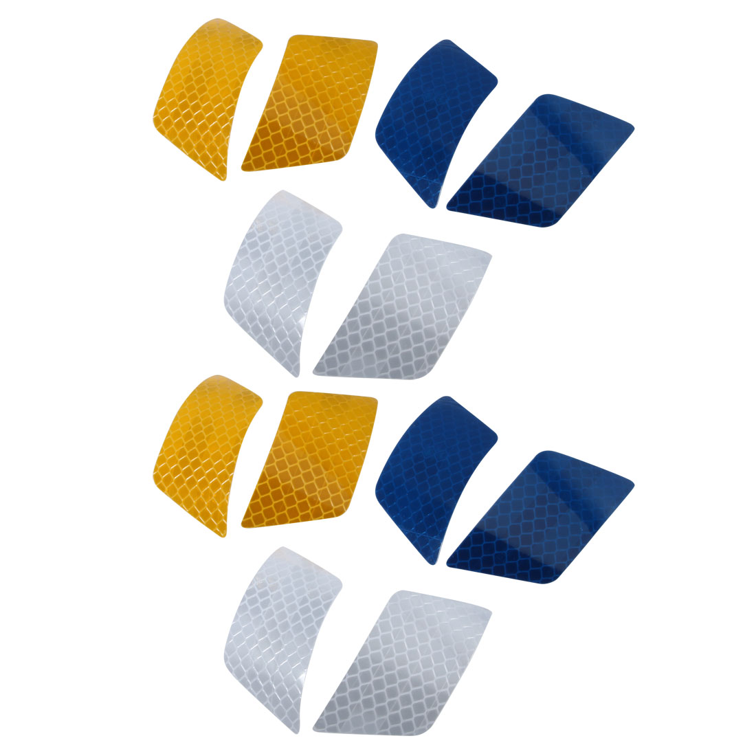6Pair Reflective Warning Tape Strip Sticker Orange Blue White 30mmx70mm for Car