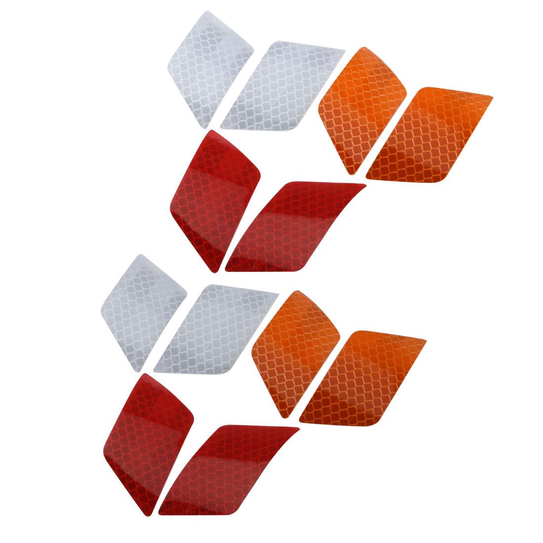 6Pair Reflective Warning Tape Strip Sticker Orange Red White 30mmx70mm for Car