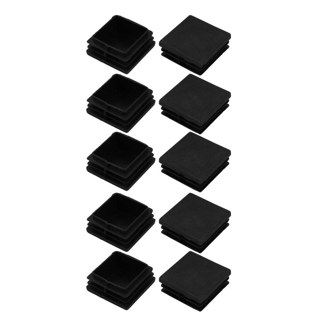 10pcs 40mmX40mm Pipe Tube Insert Chair Leg Cap Square Black Plastic Tubing Plug