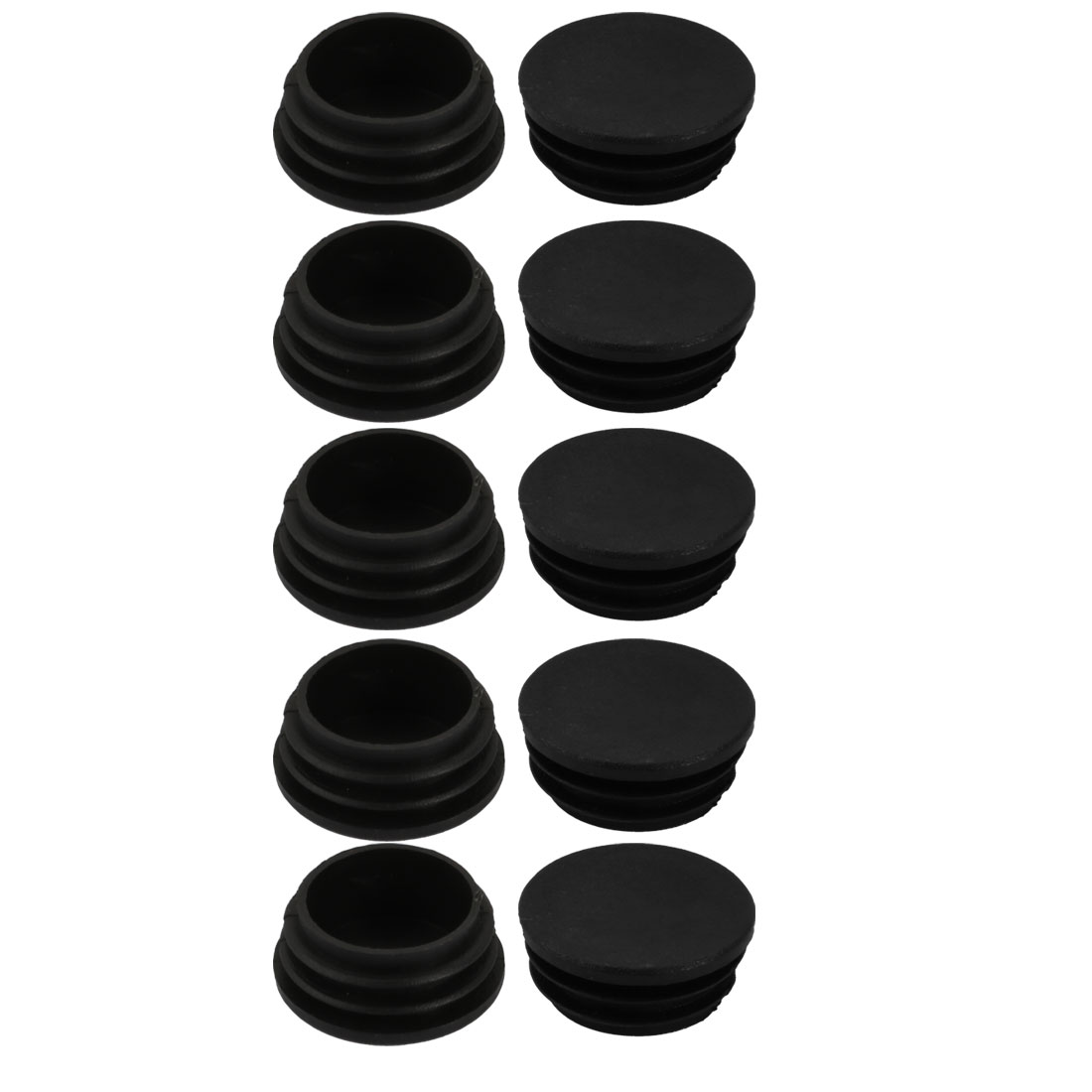 10pcs 38mm Diameter Tube Insert Chair Leg Cap Round Black Plastic Tubing Plug