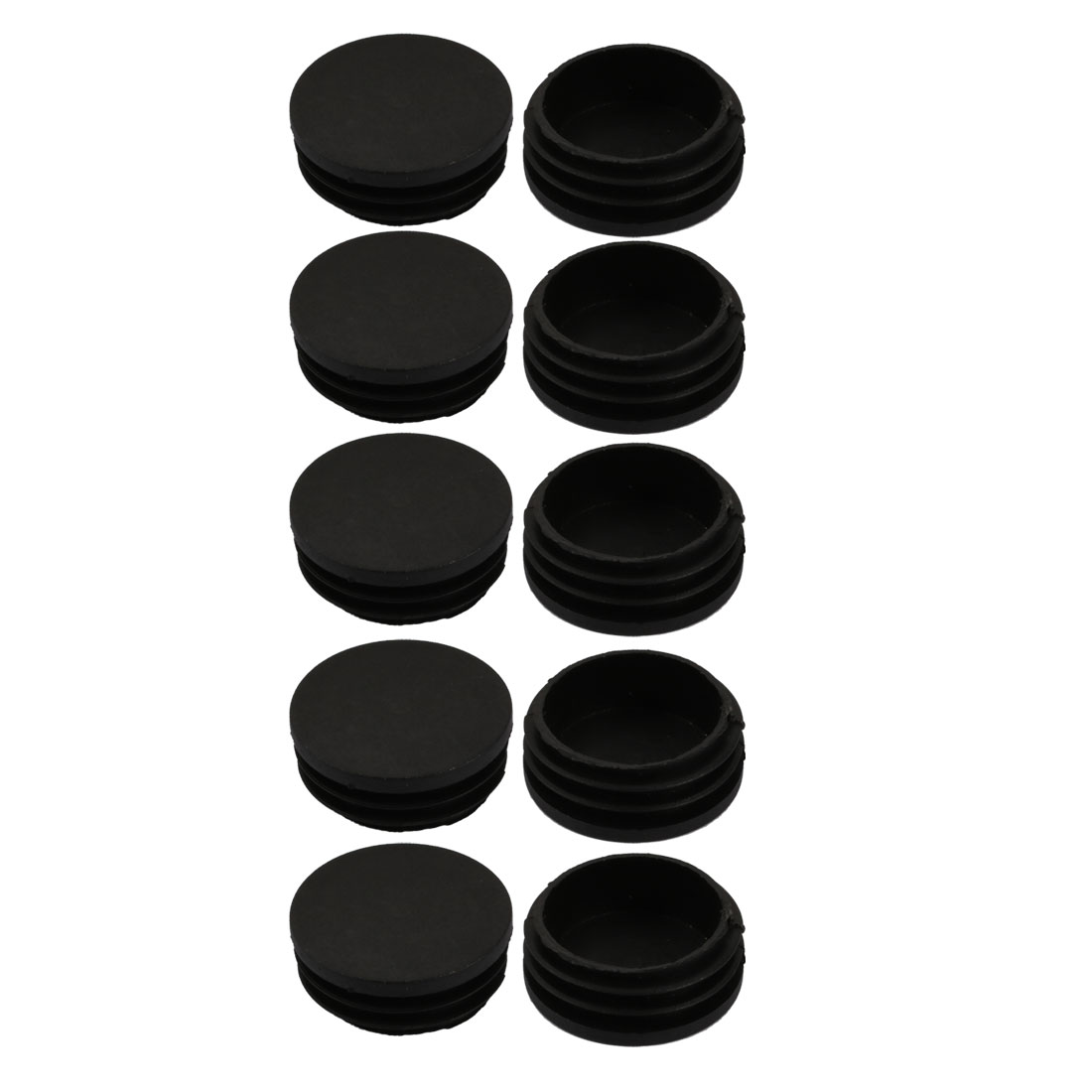 10pcs 47mm Diameter Tube Insert Chair Leg Cap Round Black Plastic Tubing Plug