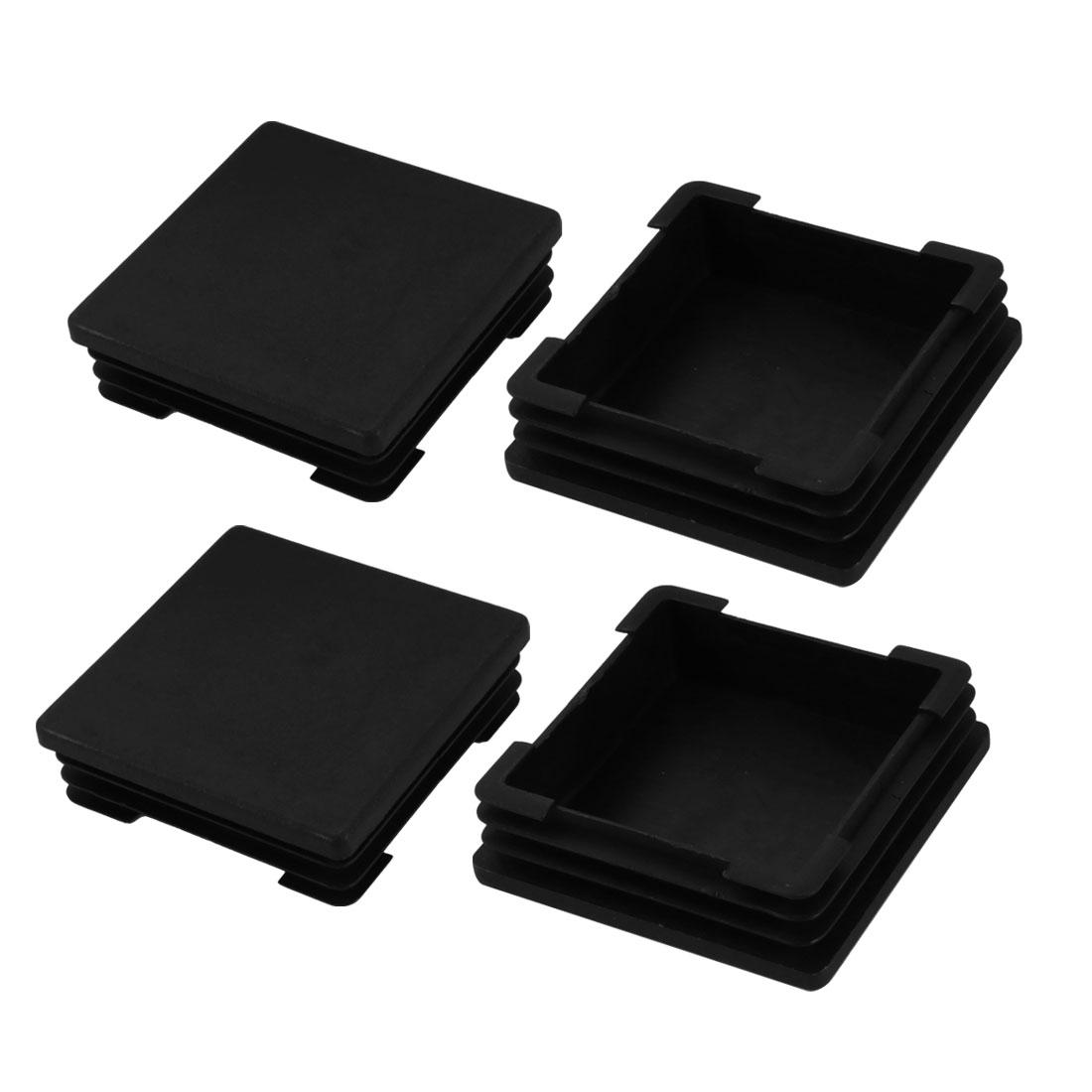 4pcs 70mm X 70mm Pipe Tube Insert Chair Leg Cap Square Black Plastic Tubing Plug