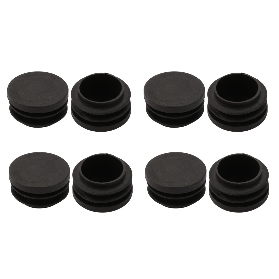 8pcs 35mm Dia Pipe Tube Insert Chair Leg Cap Round Black Plastic Tubing Plug