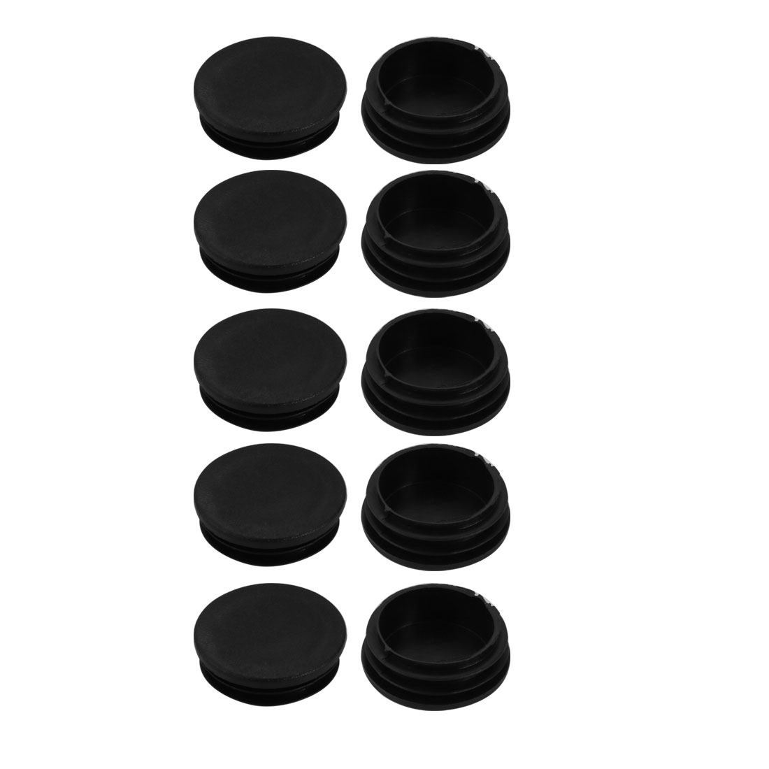 10pcs 48mm Diameter Ribbed Tube Insert Chair Leg Cap Round Black PVC Tubing Plug