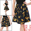 Women Pleated Detail A-Line Floral Skirt Blue XS