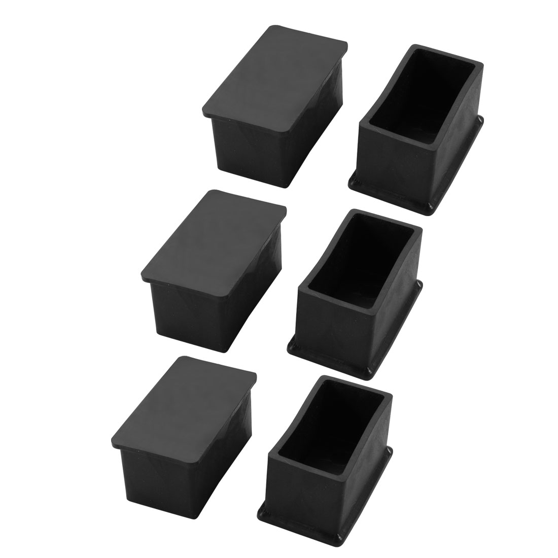 6pcs 25x48mm Black PVC Rubber Rectangle Cabinet Leg Insert Cover Protector