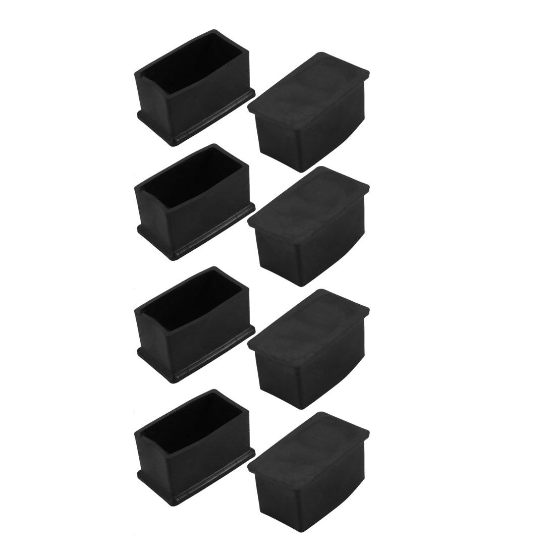 8pcs 23x48mm Black PVC Rubber Rectangle Cabinet Leg Insert Cover Protector