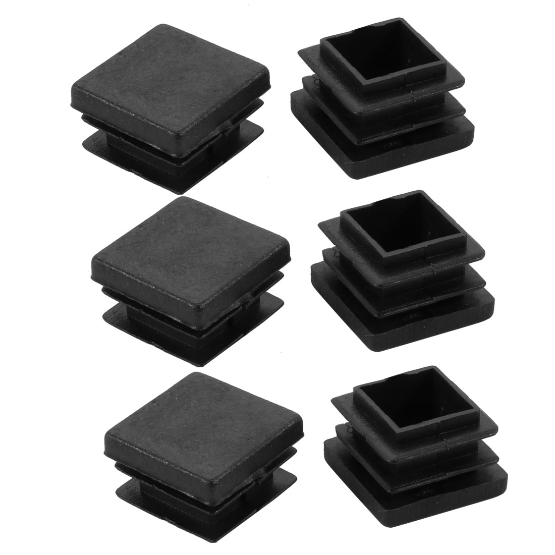 6pcs 22x22mm Black Plastic Square Cabinet Chair Leg Floor Insert Cover Protector