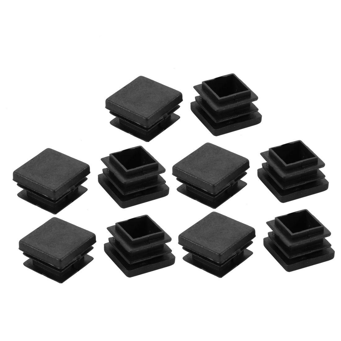 10pcs 22mmx22mm Black Plastic Square Chair Leg Floor Insert Cover Protector