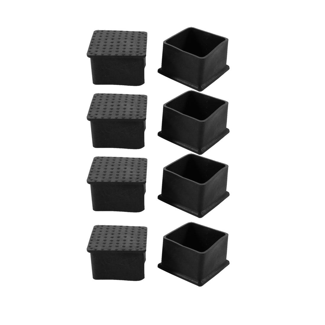 8pcs 44x44mm Black PVC Rubber Square Chair Leg Insert Floor Cover Protector