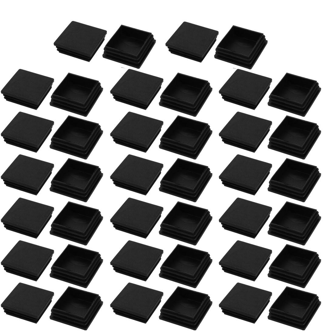 40pcs 50x50mm Black Plastic Square Cabinet Leg Insert Cover Protector