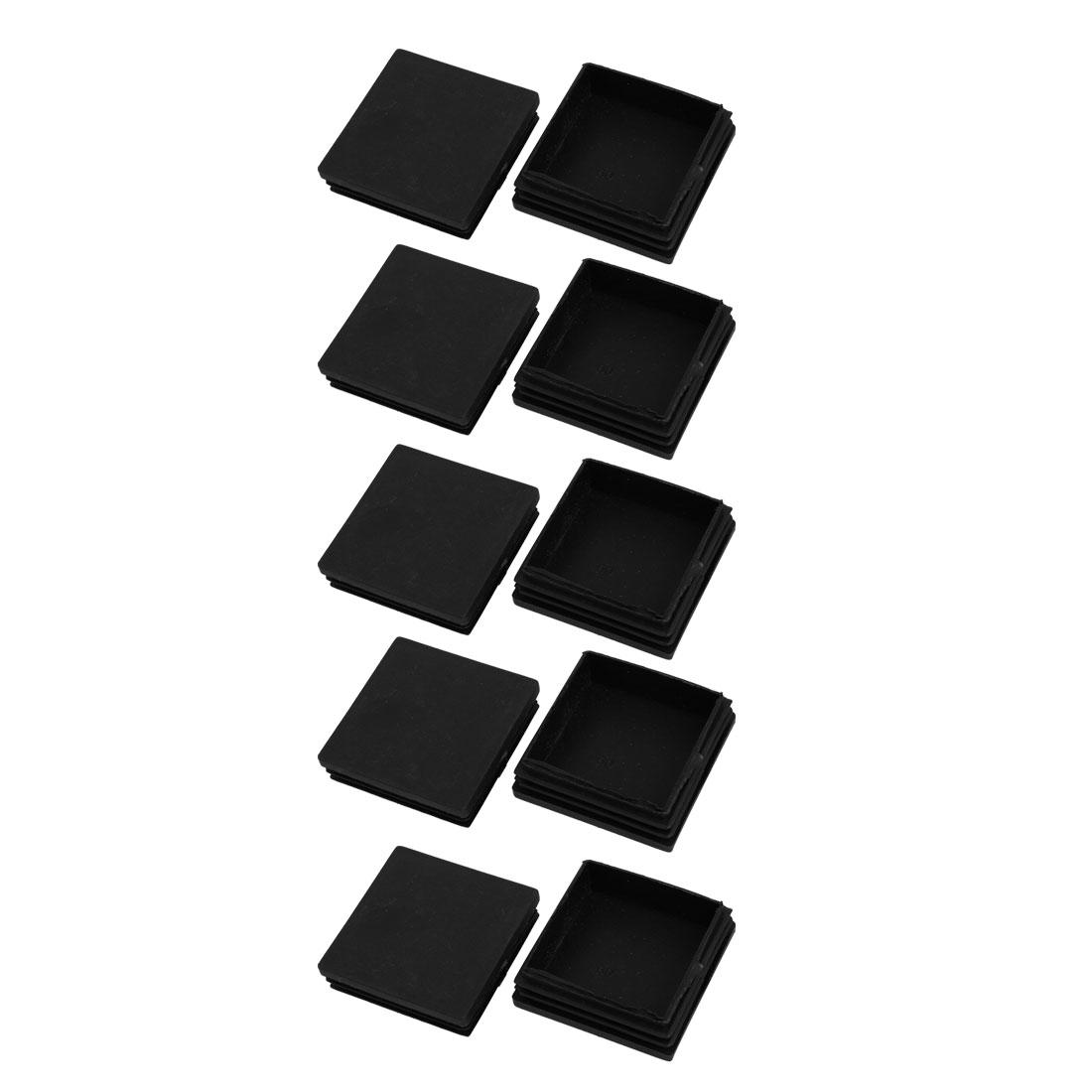 10pcs 60x60mm Black Plastic Square Cabinet Leg Insert Cover Protector