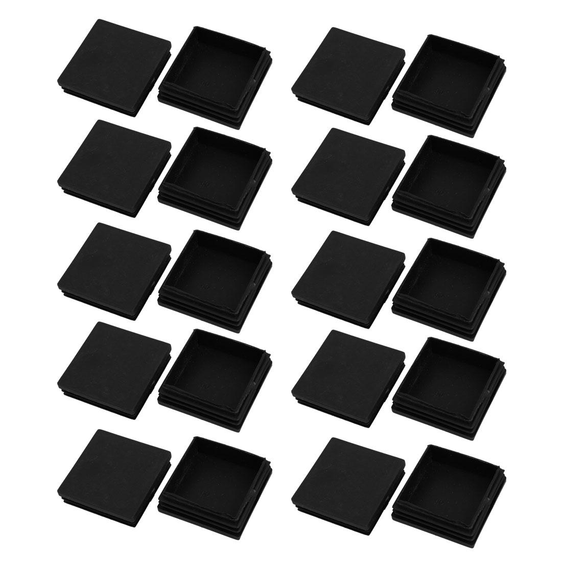 20pcs 60x60mm Black Plastic Square Cabinet Leg Insert Cover Protector