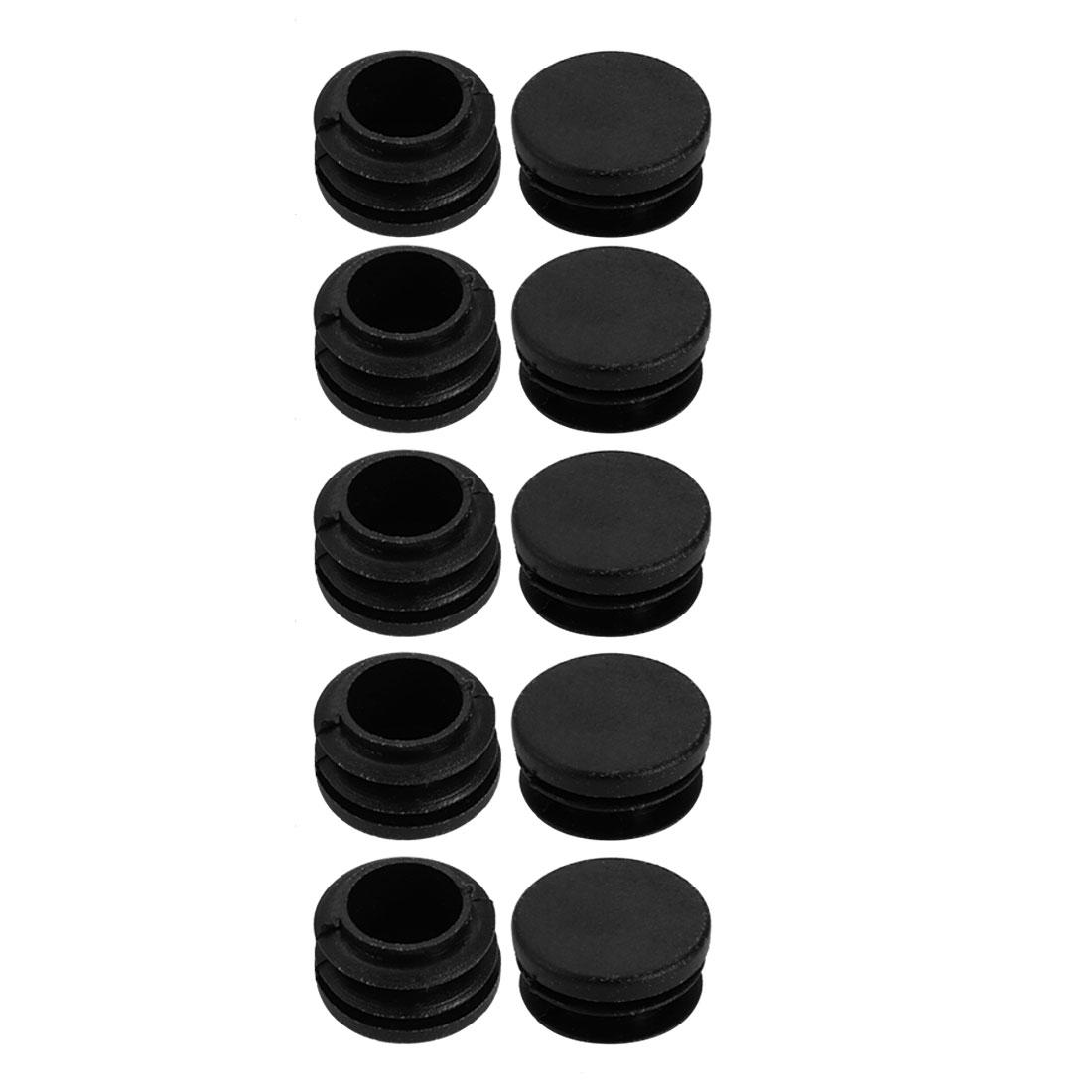 10pcs 30mm Dia Black Plastic Round Chair Leg Floor Insert Cover Protector