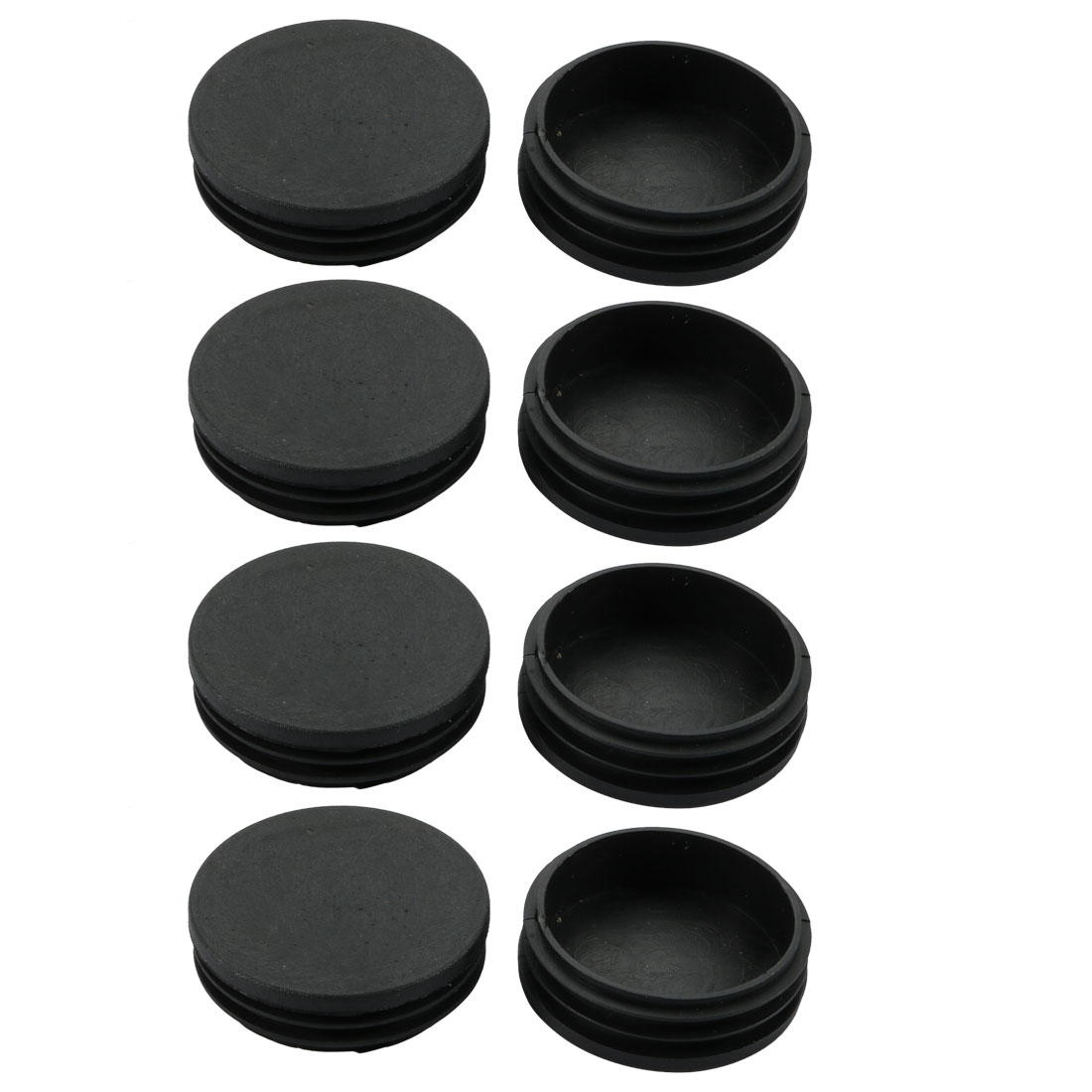 8pcs 58mm Dia Black Plastic Round Cabinet Chair Leg Insert Floor Cover Protector
