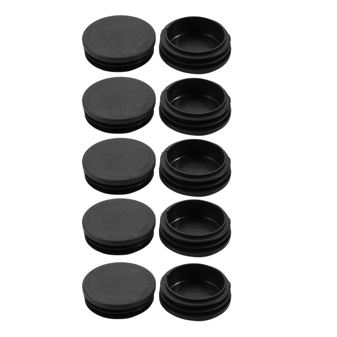 10pcs 60mm Dia Black Plastic Round Cabinet Leg Insert Cover Protector
