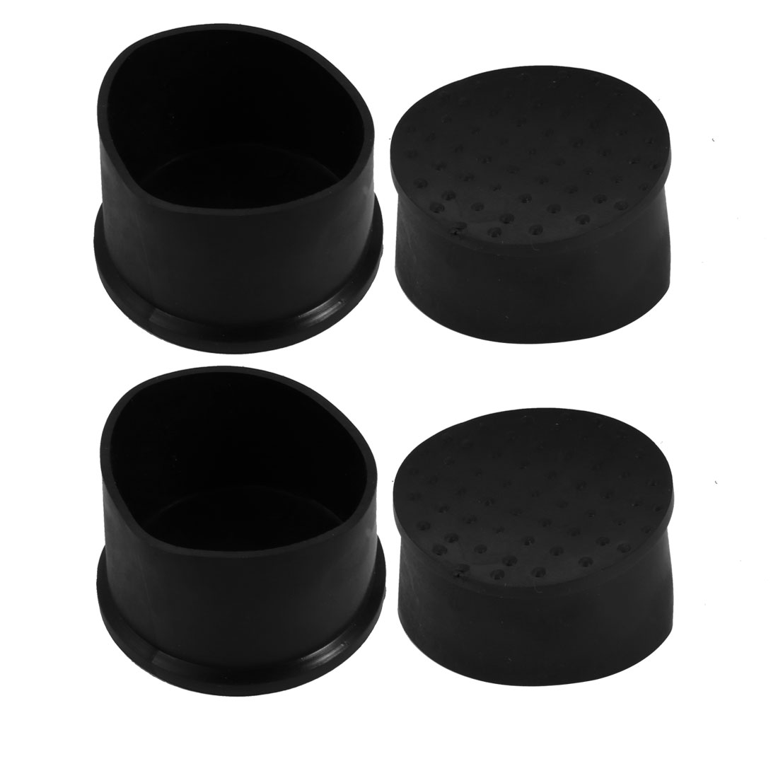 4pcs 50mm Dia Black PVC Rubber Round Cabinet Leg Insert Cover Protector