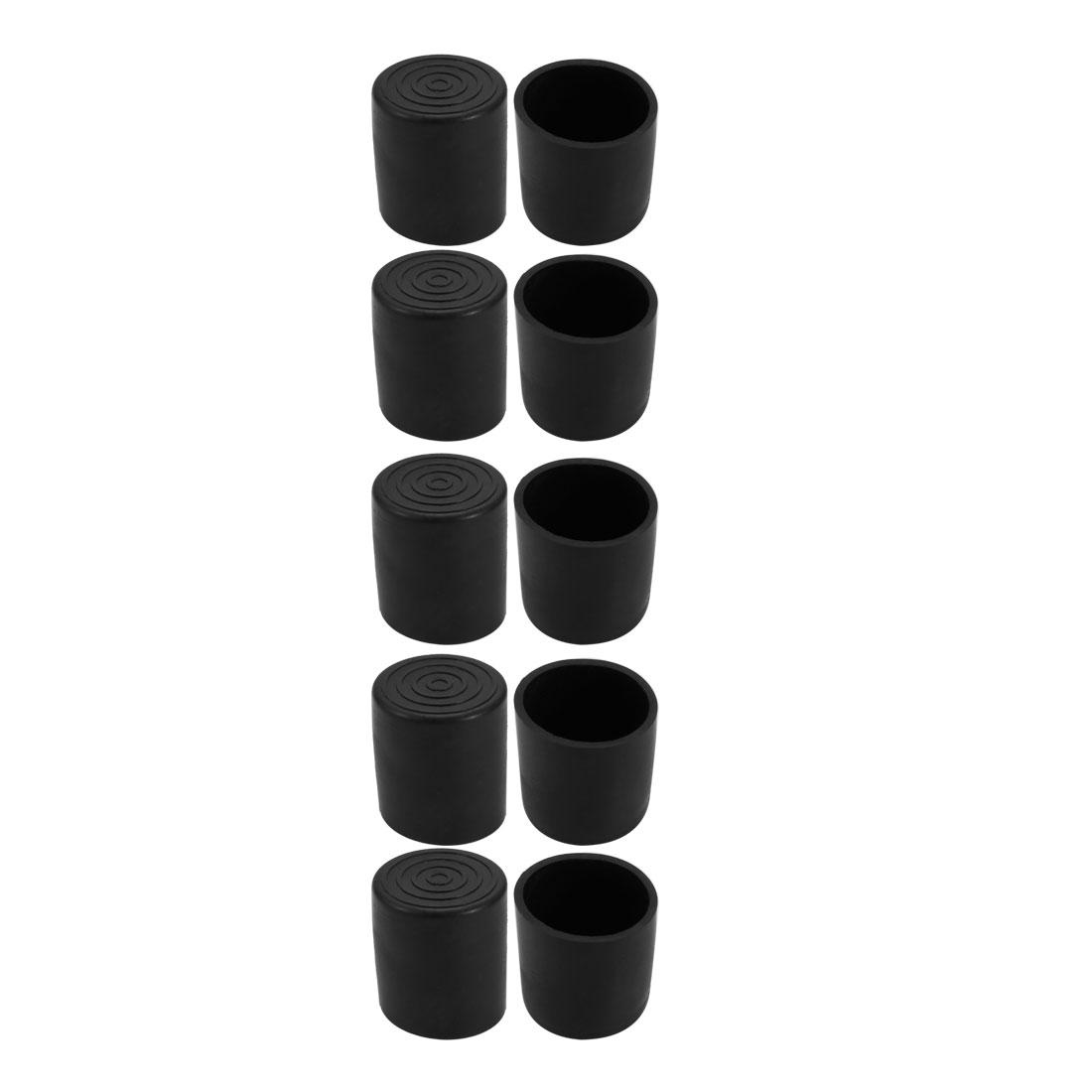 10pcs 22mm Dia Black PVC Rubber Round Cabinet Leg Insert Cover Protector