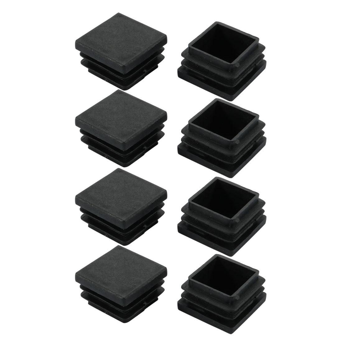 8pcs 26x26mm Black Plastic Square Cabinet Leg Insert Cover Protector