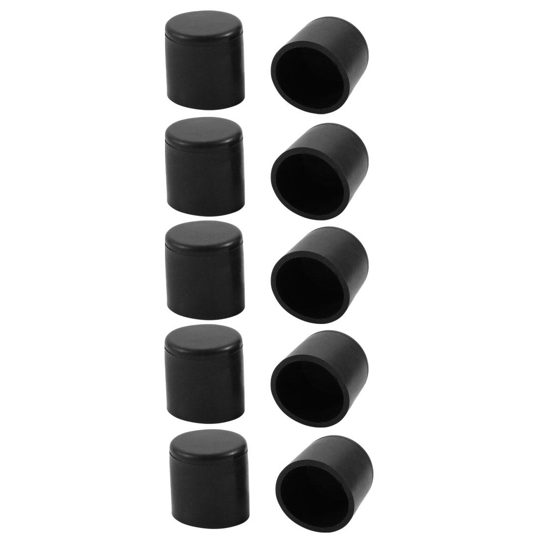 10pcs 19mm Dia Black PVC Rubber Round Cabinet Leg Insert Cover Protector