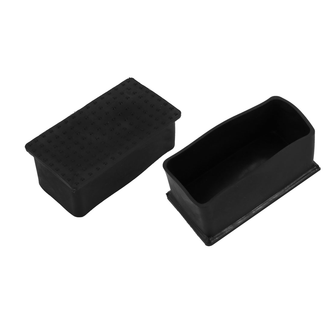 2pcs 38x78mm Black PVC Rubber Rectangle Cabinet Chair Leg Insert Cover Protector