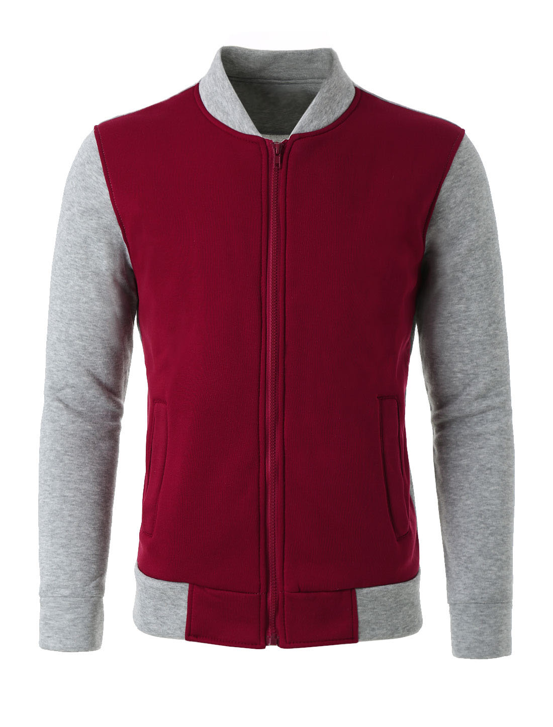 Men Color Block Stand Collar Zipper Front Long Sleeves Cozy Outdoor Varsity Jacket Burgundy Light Gray M