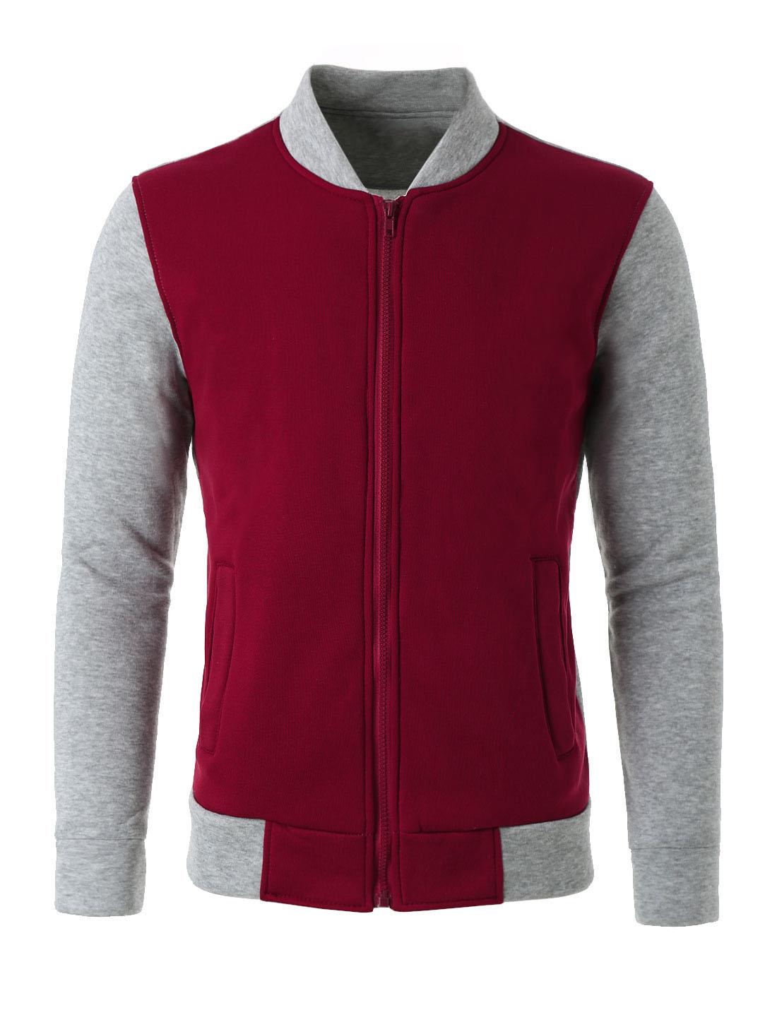 Men Color Block Stand Collar Zipper Front Varsity Jacket Burgundy Light Gray L