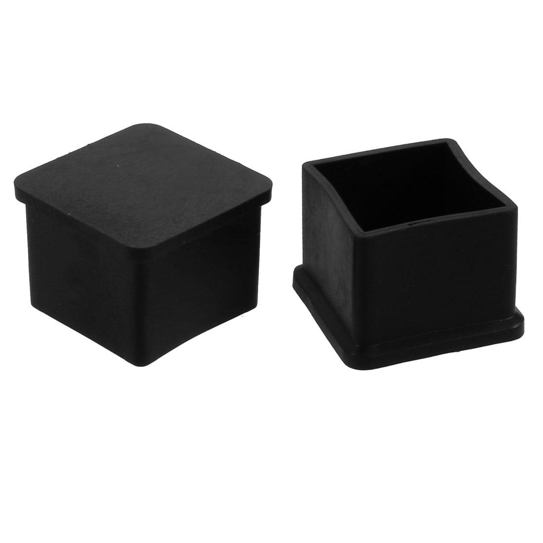 2pcs 30mm x 30mm Pipe Tube Insert Chair Leg Cap Black PVC Tubing Plug