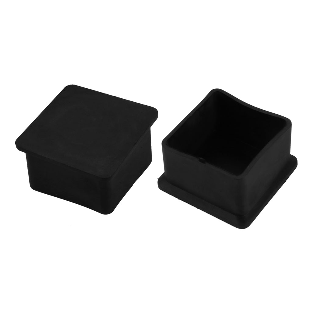 2pcs 40mm x 40mm Pipe Tube Insert Chair Legs Cap Black PVC Tubing Plug