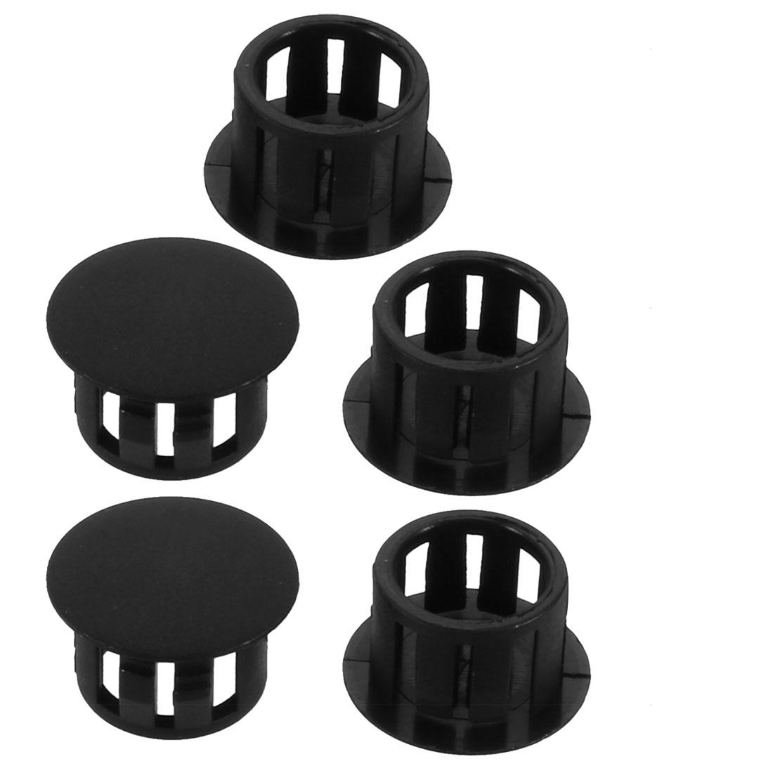 5pcs 13mm Dia Black Plastic Tubing Plug Door and Window Locking Hole Plugs