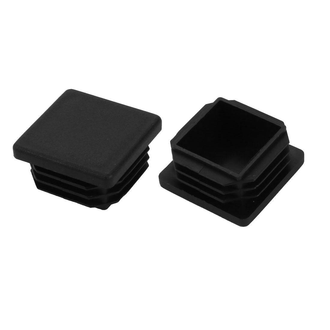 2pcs 30mm x 30mm Pipe Tube Insert Chair Leg Cap Black Plastic Tubing Plug