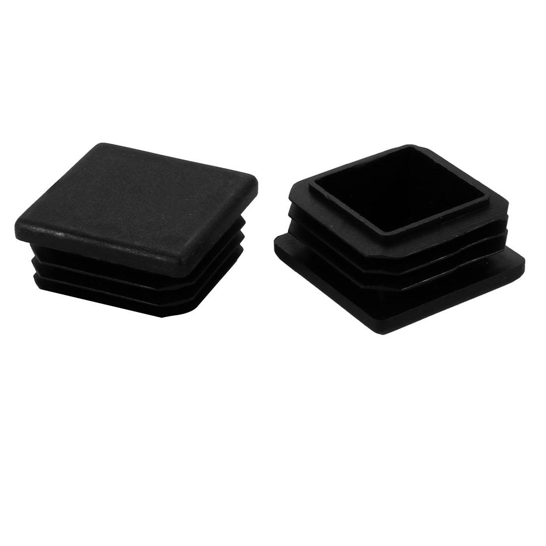 2pcs 35mm x 35mm Pipe Tube Insert Chair Leg Cap Black Plastic Tubing Plug