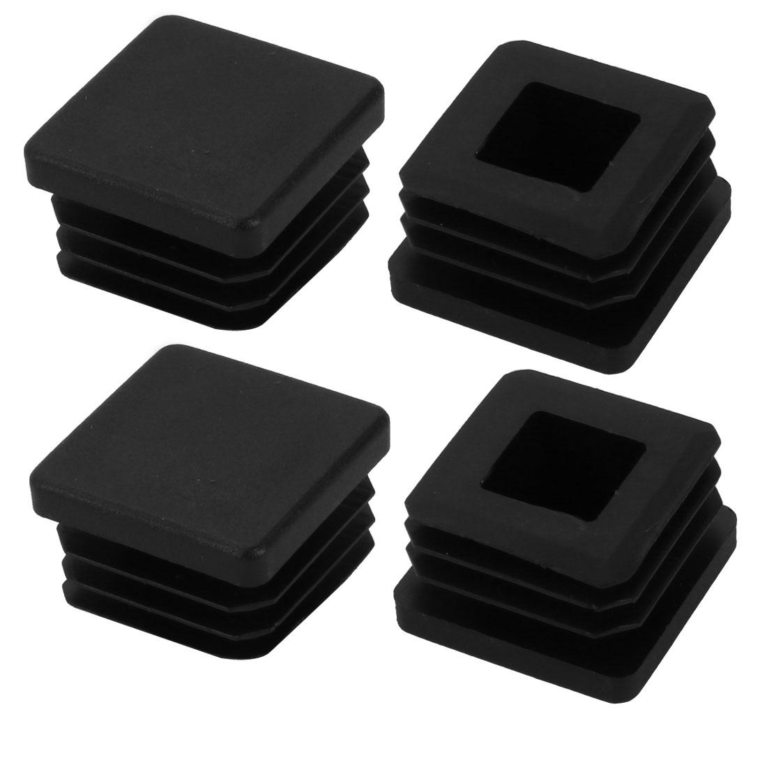 4pcs 25mm x 25mm Pipe Tube Insert Chair Leg Cap Black Plastic Tubing Plug