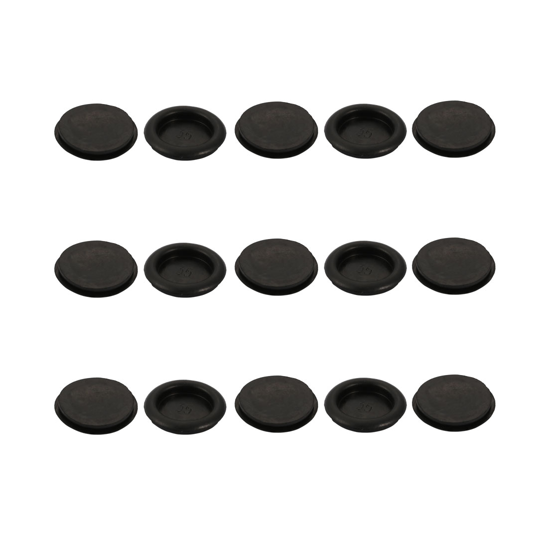 15pcs Wire Protective Grommets Black Rubber 35mm Dia Single Side Grommets