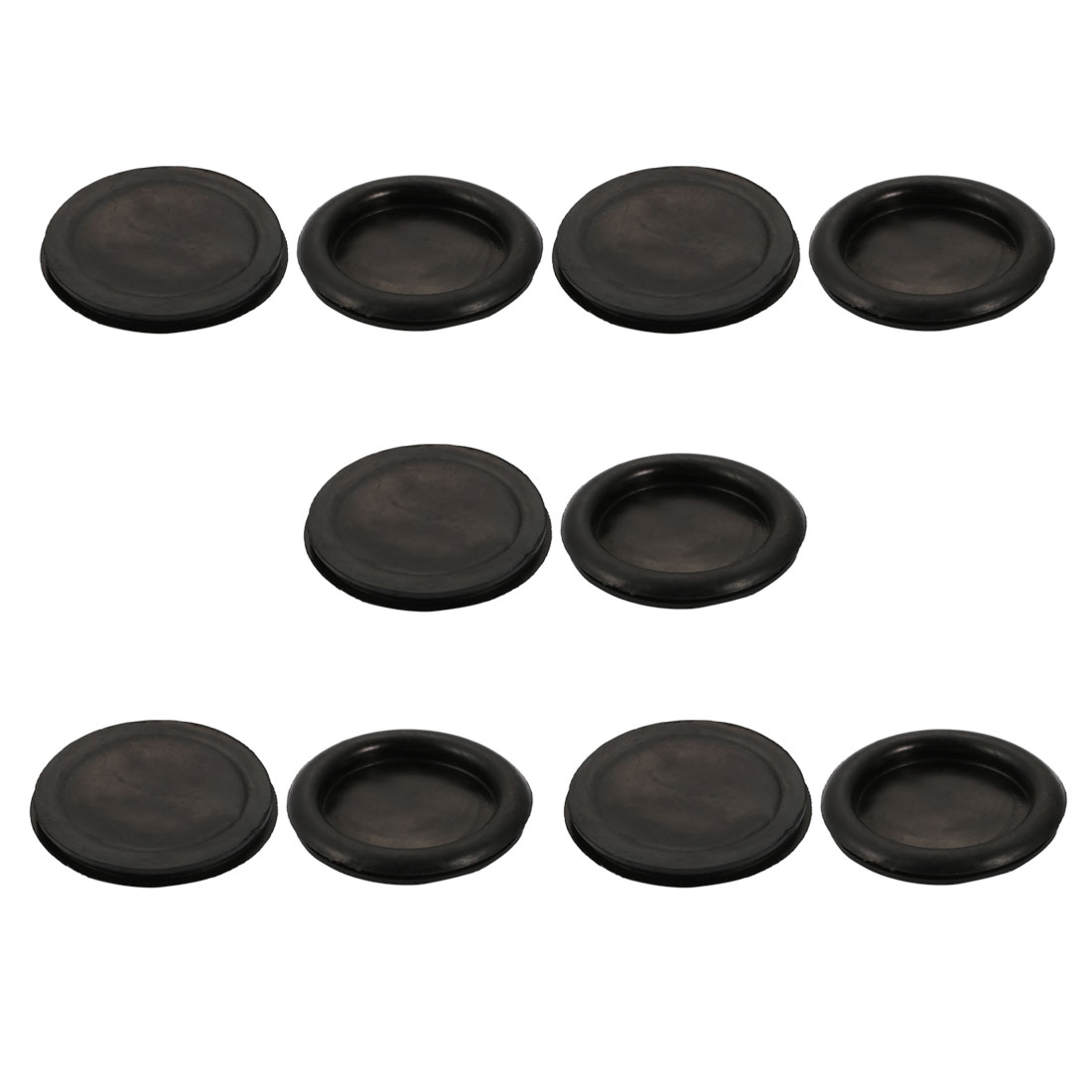 10pcs Wire Protective Grommets Black Rubber 80mm Dia Single Side Grommets