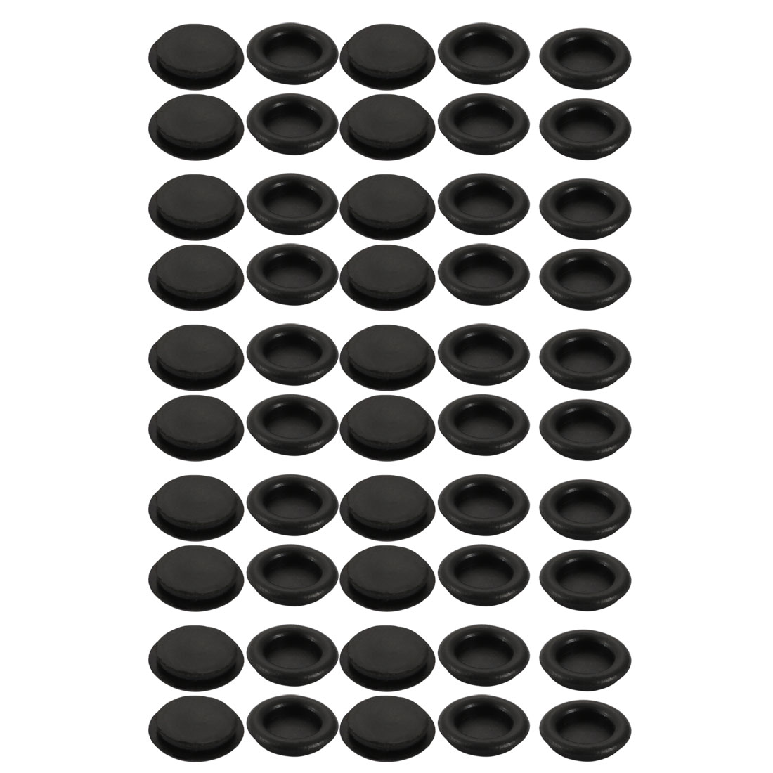 50pcs Wire Protective Grommets Black Rubber 18mm Dia Single Side Grommets