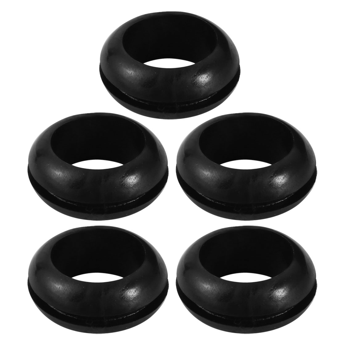 5pcs Wire Protective Grommets Black Rubber 18mm Double Sided Grommet