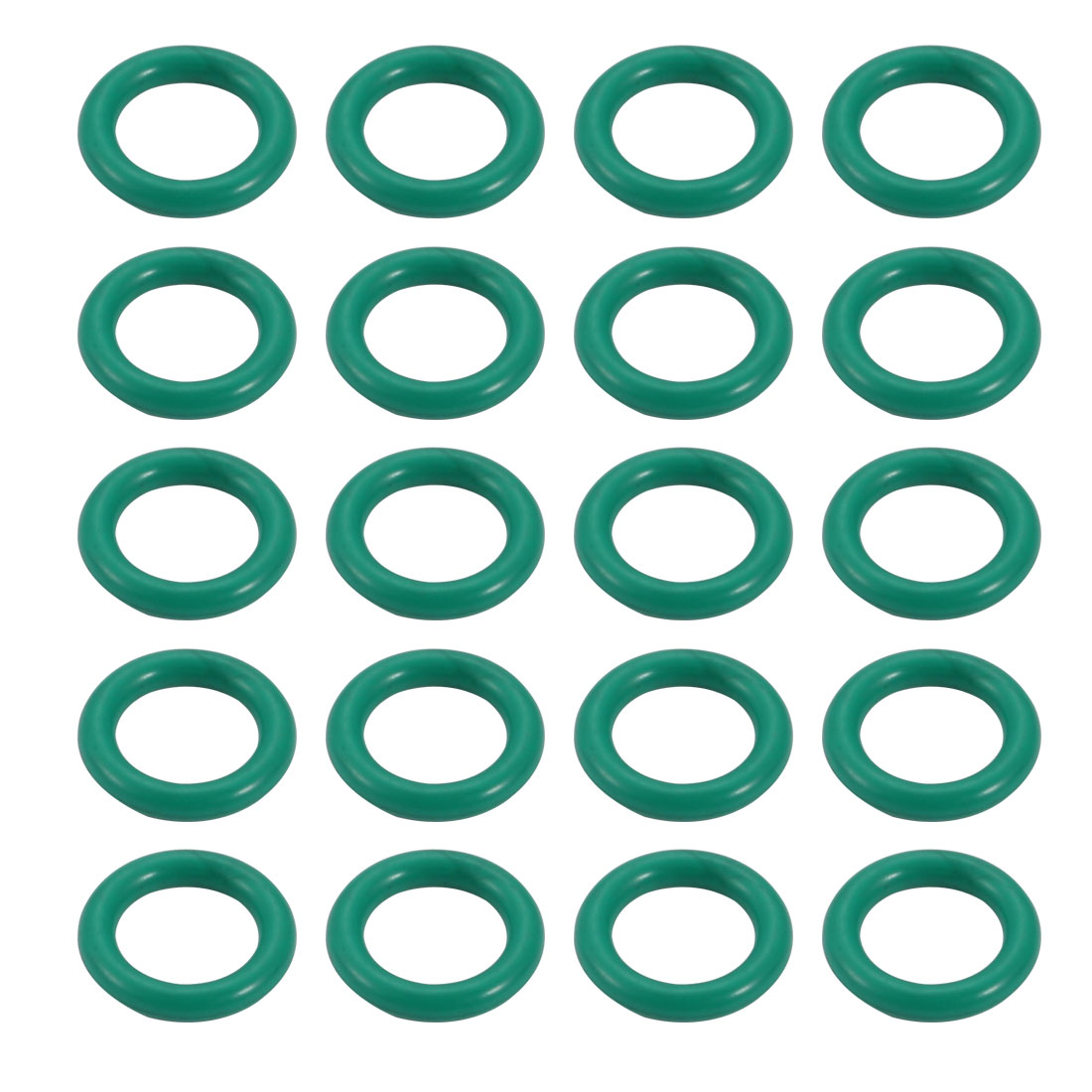 20pcs 8mm x 1.5mm Size Mechanical Rubber O Ring Oil Seal Gaskets Green