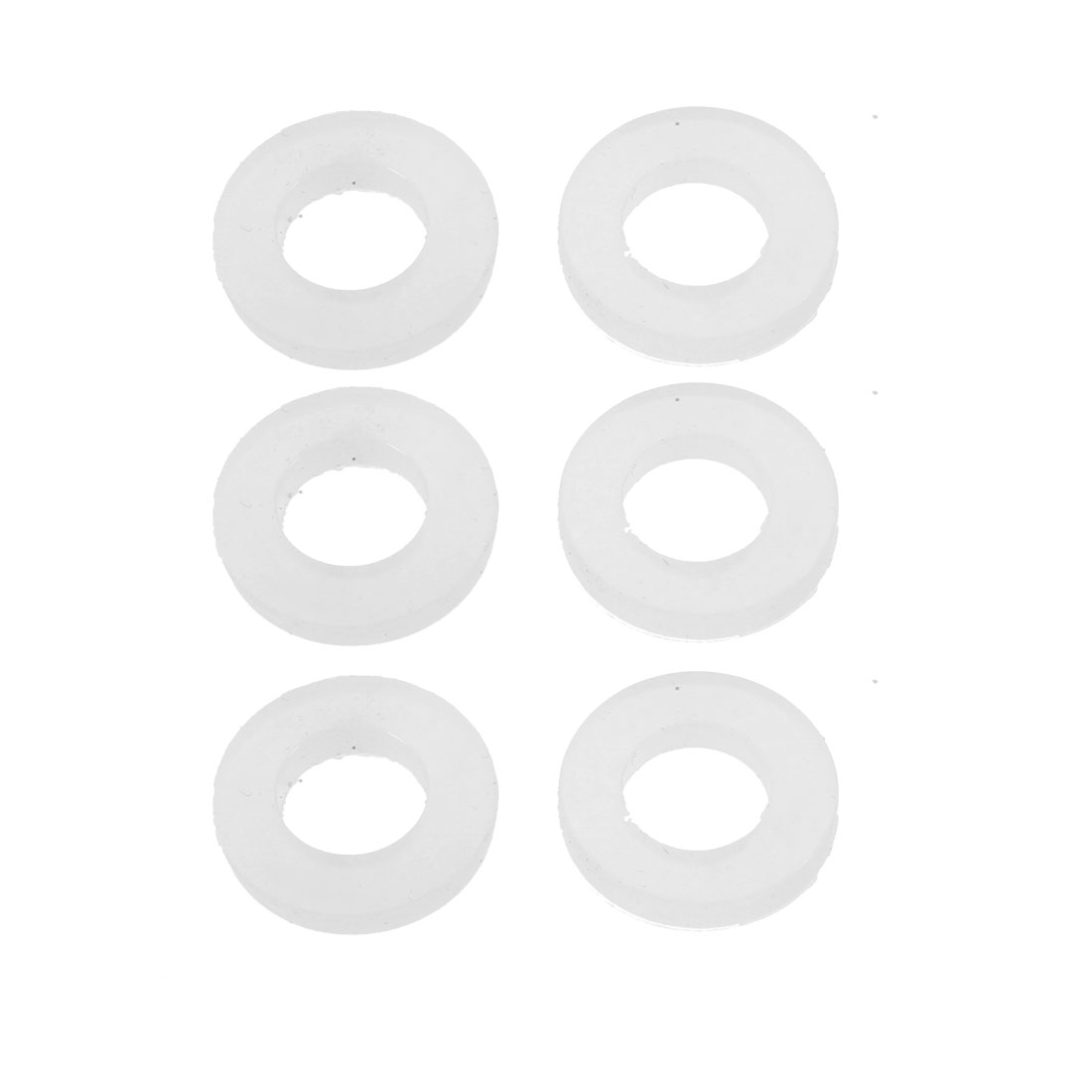 6pcs 10mm x 19mm White Sealing Ring O-shape Rubber Grommet 3mm Thickness