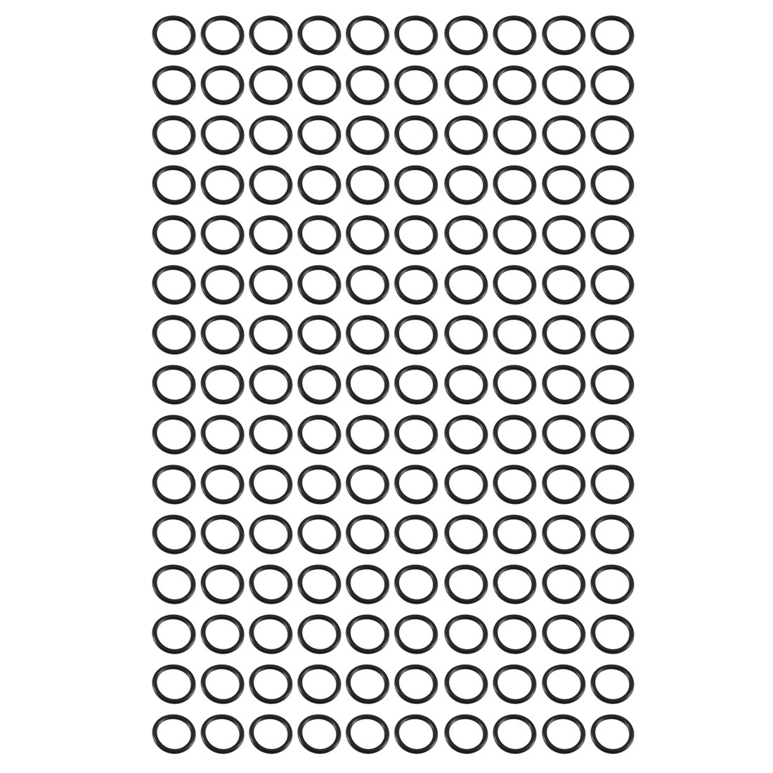 150pcs Black 13mm Outer Dia 1.5mm Thickness Sealing Ring O-shape Rubber Grommet
