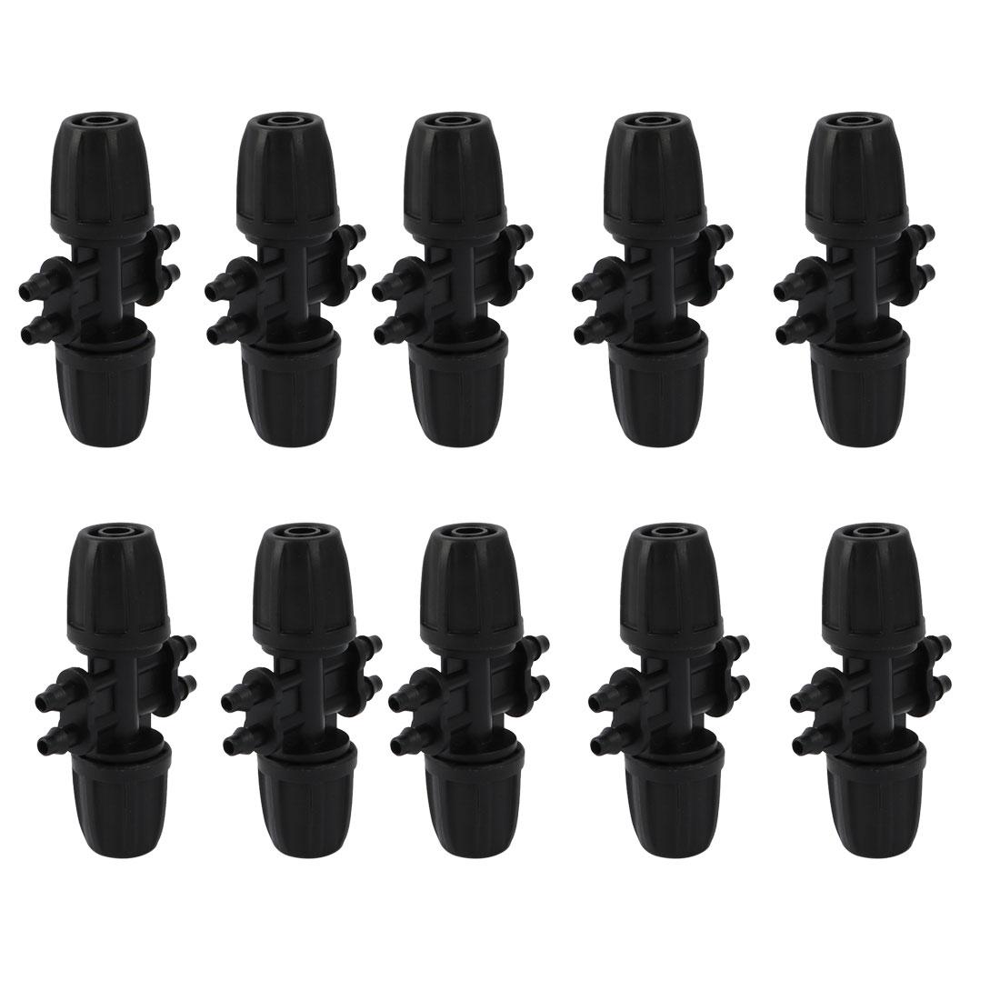 10pcs Garden Hose Nozzle Splitter 8/11 mm to 4/7 mm Barb Hose Connector Black
