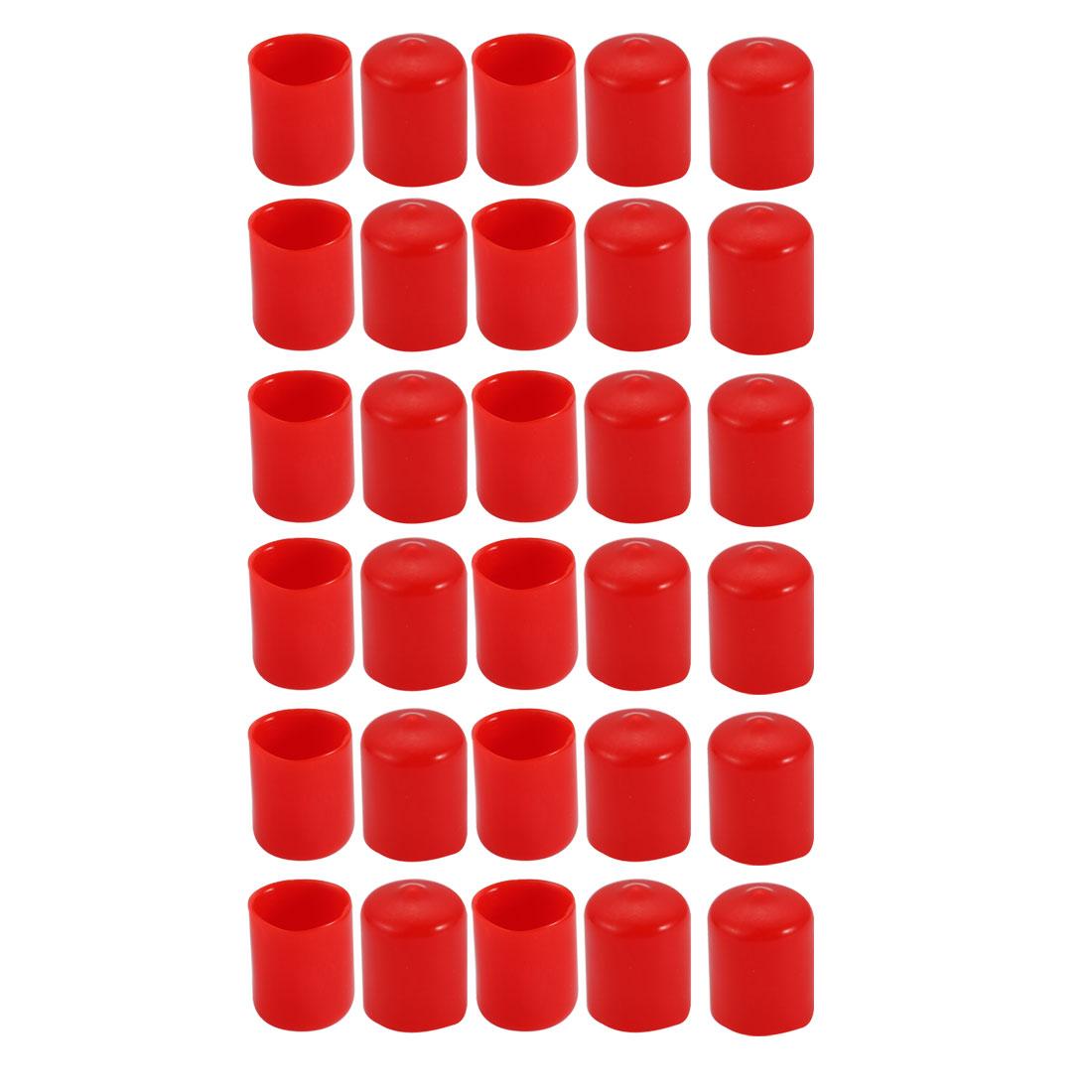 30Pcs 19mm Inner Dia PVC Flexible Vinyl End Cap Screw Thread Protector Red