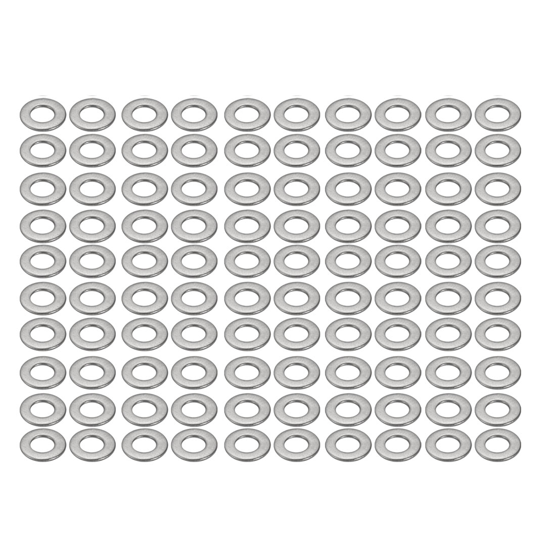 M3x7mmx0.5mm DIN125 316 Stainless Steel Flat Washer Silver Tone 100pcs