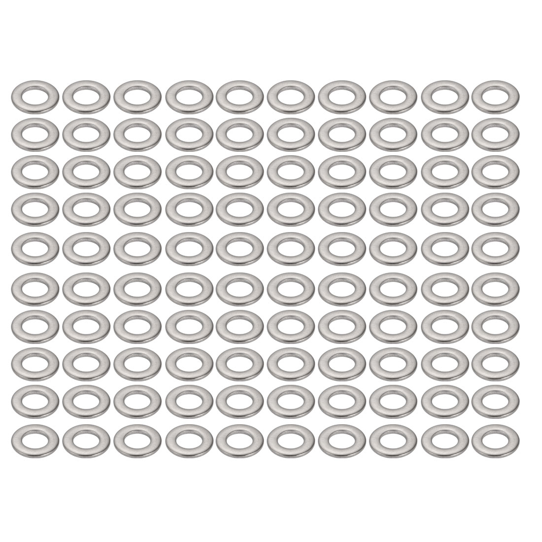 M5x10mmx1mm DIN125 316 Stainless Steel Flat Washer Silver Tone 100pcs