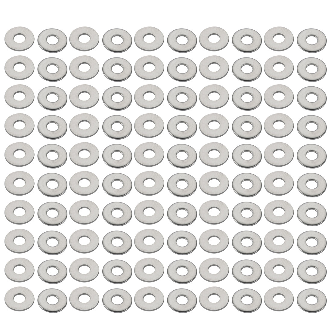 M4x12mmx1mm DIN9021 316 Stainless Steel Flat Washer Silver Tone 100pcs